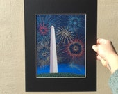 "Print, ""Fourth of July Fireworks"", YOUR CHOICE of mat color, fits 11x14 inch standard picture frame, high quality reproduction print"
