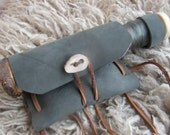 Handline & Tackle Kit, OOAK - hand turned on a treadle lathe w/ maple, reclaimed leather, line, hooks, weights, bushcraft/primitive gear