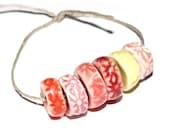 Ceramic Textured Flower Disk Bead Set Handmade Stoneware Pinks
