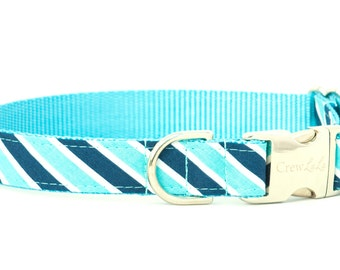 Crew LaLa™ Navy & Teal Rugby Stripe Dog Collar