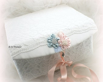 Keepsake Box, Baby,Girl, Boy, Baptism, Birthday, White, Pink, Blue, Lace Keepsake Box, Memory Box, Gift, Pearls, Elegant, Vintage Style