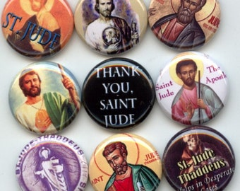 "Saint Jude Apostle Judas Thaddaeus Patron Saint of Hope and the Impossible  9 Pinback 1"" Buttons Badges Pins"