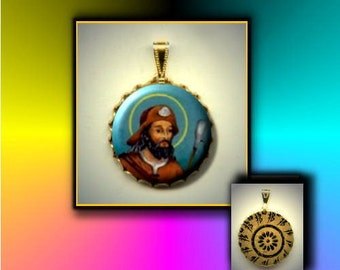 St Drogo Patron Saint of coffee and those who feel unattractive or ugly Hand Pressed flat button CABOCHON in Brass Charm / Pendant