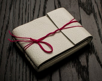 White Leather Journal or Leather Sketchbook, Valentines Day Gift For Her, Pocket Sized, Handbound Coptic Stitch Notebook