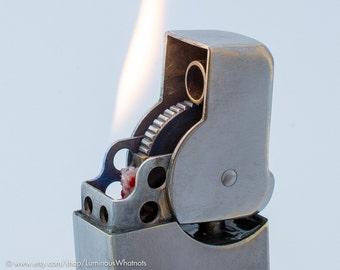 Working 1940s French FM Besancon Ajax Royal Windproof Pocket Lighter