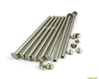 10Pcs 9x100mm Nickel Plated Chicago Screw Stud Rivet Belt Strap Fastener (CHI100)