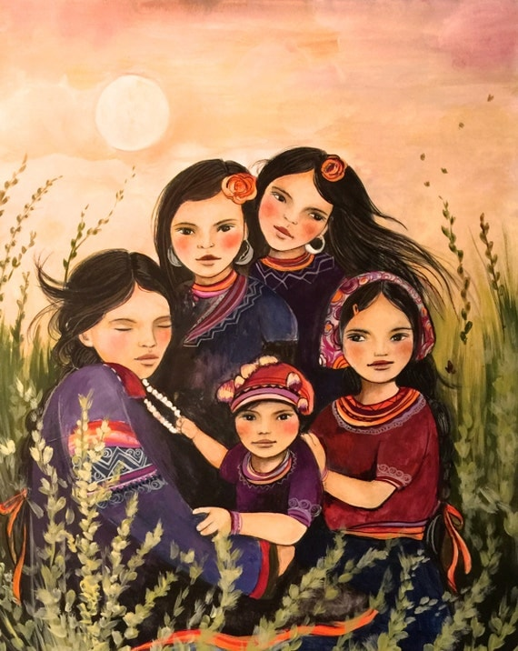 Mother and children hmong inspired art print