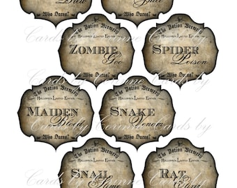 Halloween steampunk potion bottle label sticker set of 8 zombie spider snail glossy laminated adhesive