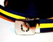 Yellow and Navy Letter Buckle Belt ALL SIZES