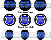 INSTANT DOWNLOAD Back the Blue  Law Enforcement Support 1 inch Circle Bottlecap Images 4x6 sheet