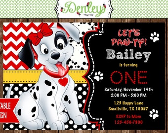101 Dalmatians Birthday Party Invitation Digital File