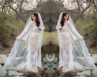 Ready to ship - Full Length French Lace Robe for Bride, A must-have for every bride to be