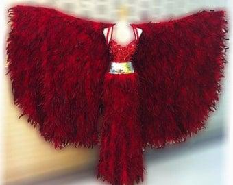 Vegas Showgirl Burlesque Feather Red Bird Coat Gown Costume Set