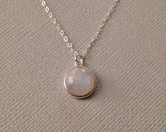 Moonstone Necklace -Moonstone Necklace in Sterling Silver -Rainbow Moonstone Necklace