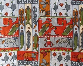 Tribal Fabric, Sreenprint Cat Fish Lizards, Orange Gray, 1 Yard Polyester, Art Fabric, Batik print