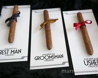 Groomsman Card, Cigar Card Will You Be My Groomsman, Your Service Is Requested as Best Man, Ring Bearer, Officiant Ask Groomsmen CS10 Single