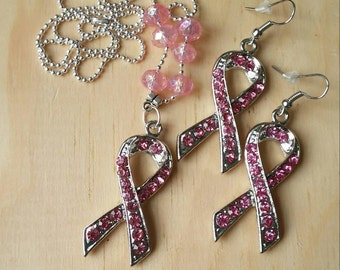 Cancer Awareness Jewelry. Pink Ribbon Breast Cancer Awareness Necklace and Earrings Set.