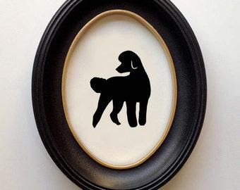 FRAMED Poodle Silhouette Standard - Hand-cut Original Dog Art Design:DOG-SPO06