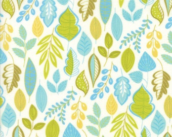 Green and Blue Leaf Fabric - Wing & Leaf by Gina Martin from Moda - Fat Quarter