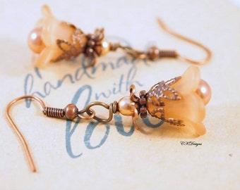 Lucite Flower Earrings, Victorian Style Earrings, Dangle Pierced of Clip-onEarrings. OOAK Handmade Earrings. CKDesigns.us