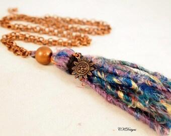 Long Fiber Tassel Necklace, Boho Tassel Necklace, Copper and Fiber Necklace, Statement Necklace, OOAK Handmade Necklace. CKDesigns.US