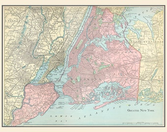 Vintage Map New York City digital download