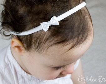 Little White Baby Bow - Little Satin White Bow Handmade Headband - Flower Girl Headband - Fits From Babies to Adults - Golden Beam