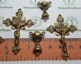 3 pairs per pack 48x31mm Medium Crucifix with 19x15mm Chalice Center Piece Antique Gold Lead Free Pewter.
