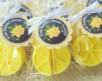 25 LEMON SOAPS {Favors} - Lemoade Party, Lemon Party Favors, Strawberry, Soaps, Birthday favors, 1st Birthday, Spring Party, Wedding Bridal