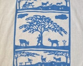 Flour Sack Dish Towel - Goats: Steel Blue or Red