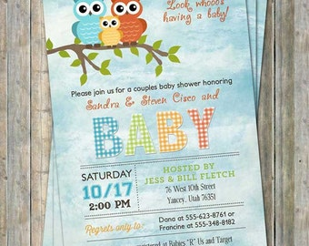 Owl cloud baby shower invitation, typography baby shower invitation, digital, printable file