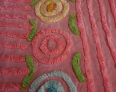 PINK on Pink with Plush Lines and 11 Yellow, Aqua, Pink, Blue and White LOLLIPOP Flowers Vintage Chenille Bedspread Fabric - #4