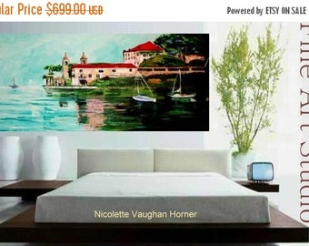 Large Giclee on  canvas  of Lake Como,Italy,original painting by Nicolette Vaughan Horner