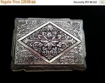 Now On Sale Vintage Ornate Silver Tone Flowered Jewelry Box ** 1950s 1960s Signed Japan Trinket Box ** Retro Vanity Mid Century Home Decor