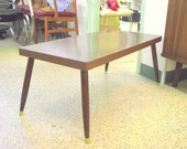 Mid Century Modern Coffee Table Taper Peg Legs - American Retro Rectangle