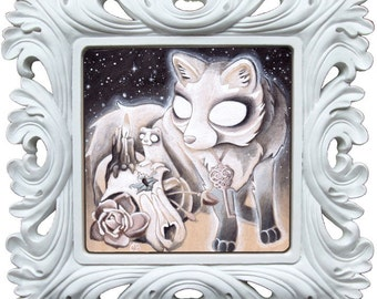 Consecrating the Talisman fox wolf skull witchcraft  skull animals painting cute pretty pastel