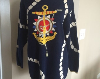 Vintage 80s navy blue nautical anchor sailing sweater Chaus oversized