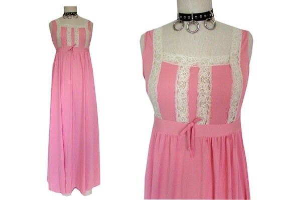 Pink Lace See Through Nightgown Girly Maxi Dress