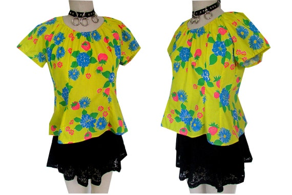 Bright Yellow FLoral Peasant Hippie Wild Strawberry Summer Top Shirt