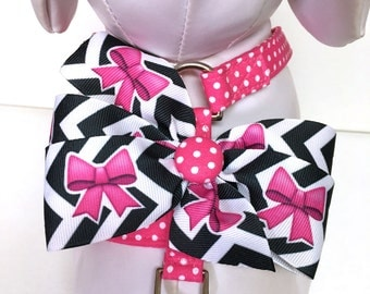 Dog Harness Adjustable Harness Bow Harness- The Chevron Polka and Bows