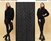 15% OFF 1DAY SALE 80s 90s Vtg Black Angora Fur Chunky Cable Knit Crop Sweater / Turtleneck High Collar Minimal Modern Boxy / Med Lrg