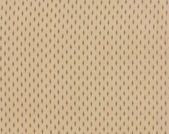 Moda fabric by 1/2 yard SONGBIRD Primitive Gatherings-tiny bark brown designs on tan- 1161 11