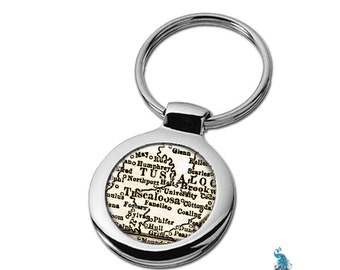 Map Keychain Tuscaloosa Alabama Key Ring Fob