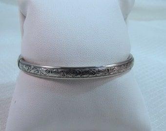 Hand Etched Sterling Bangle Bracelet