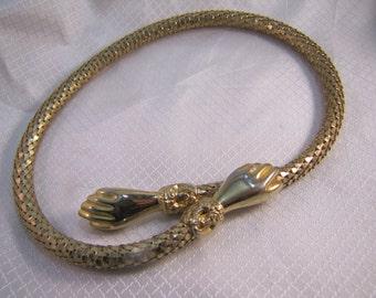 Rare c1900's D.L. Auld Gold Mesh, Victorian Glove Clasp Necklace