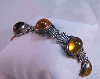 c1950's -1960's Russian 875 Sterling Art Deco and Amber Cabochon Link Bracelet