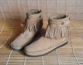 Vintage Tan Beige Suede Zip Up Fringed Ankle Boots Size EUR 37.5 / US Woman 7