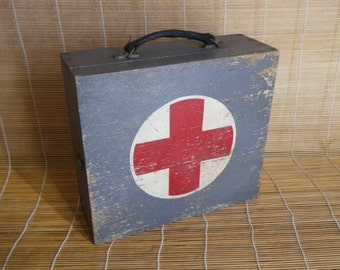 Vintage Army Grey Wooden Case Box Red Cross First Aid Kit Case Bag