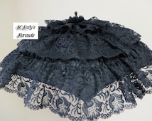 VICTORIAN PARASOL Umbrella in Black Satin with Lavish Wide Black Lace Rows of Ruffles Mourning Civil War Funeral Steampunk Gothic Prom