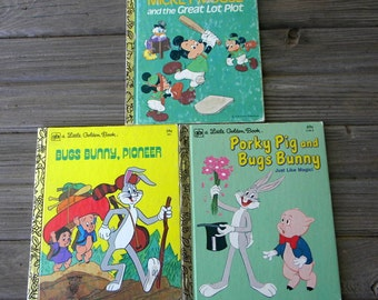 Little Golden Books lot of 3 cartoon characters books porky pig Mickey Mouse Bugs Bunny